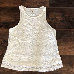 Self Esteem Lined Ivory Stretch Lace Tank Cami XL